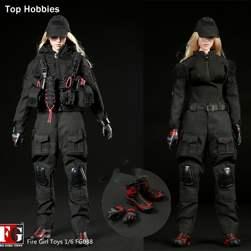 ToysHobbies Fire Girl Toys FG038 1/6 Scale Accessories Dark Night Female Shooter Black Suit F 12