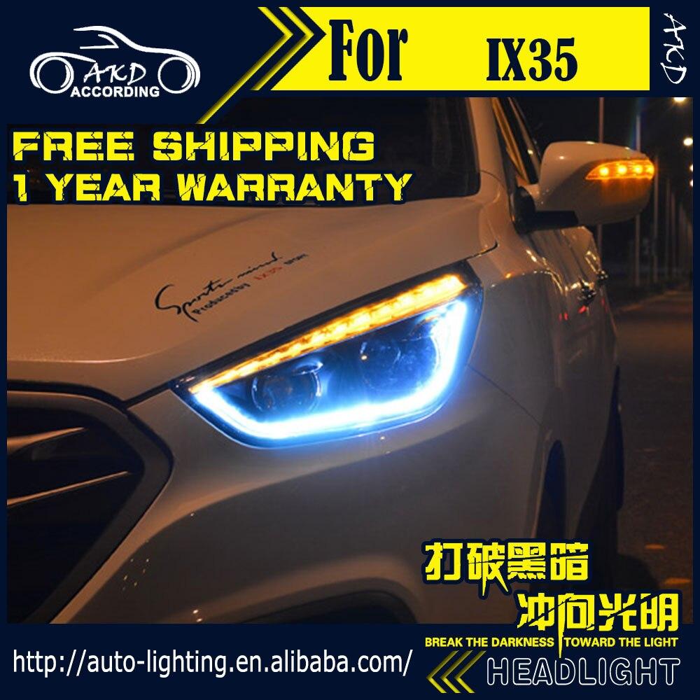 AKD Car Styling Head Lamp for Hyundai IX35 Headlights 2010up New Tuscon LED Headlight H7 D2H Hid Option Angel Eye Bi Xenon Beam new arrival canbus p6 car led head lamp conversion kit bulb 4500lm 2 9000lm led headlight super bright 45w 2 90w car styling