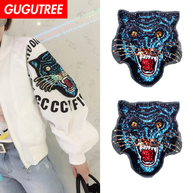 GUGUTREE embroidery Sequins big tiger patches leopard animal badges applique for clothing ZM-53