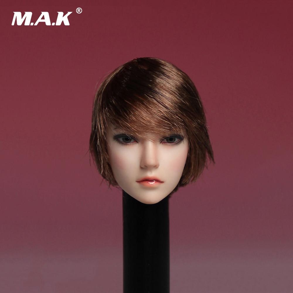 SDH002A 1/6 Asia Female Brown Short Hair Head Sculpt For 12''Body 1 6 scale asia beautiful gird head sculpt black short hair head