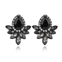 Fashion Womens Crystal Stud Earrings Rhinestone Glass Black Resin Sweet Metal Leaf Ear For Girl