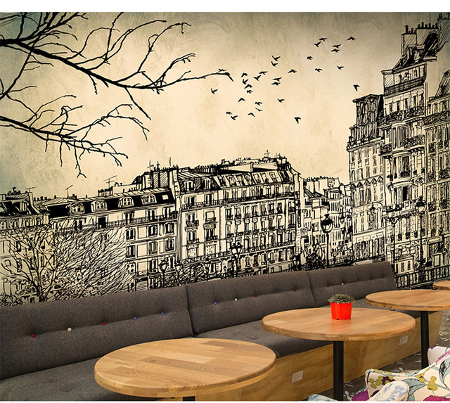 Europe Architecture Sketch City Landscape Building Wallpaper Mural Rolls  For Wall Covering Living Room Bedroom Cafe