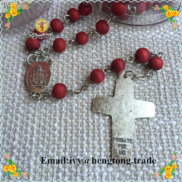 US $9 99 |Free shipping perfumer rose scent red beads catholic rosary  necklace, religious rosary with cross pope center&plastic saint case-in  Pendant
