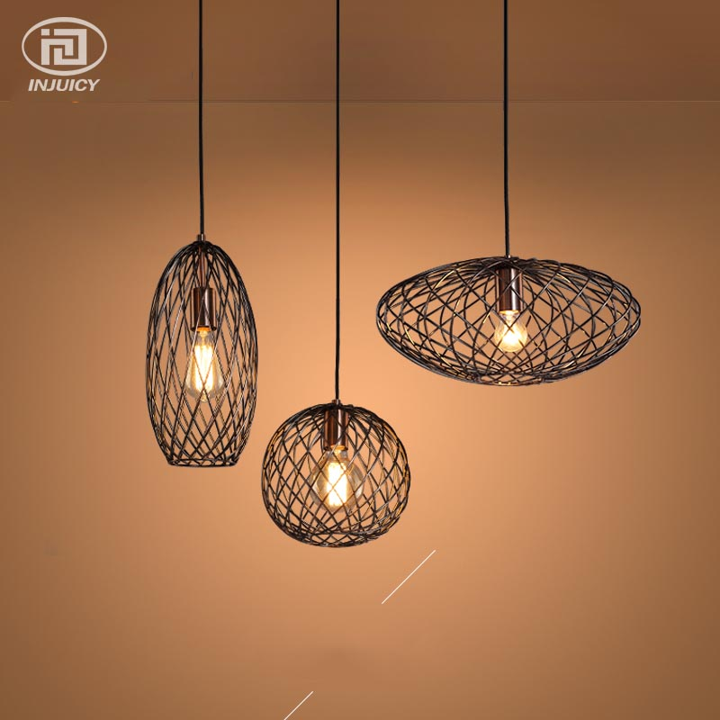Retro Industrial Wire Netting Pendant Lights Vintage Edison Bulb Ceiling Light Restaurants Cafes bars Simple Art Pendant lamp art deco vintage industrial metal wire cage pendant light guard rustic ceiling mounted lamp cafe pub hotel porch bar