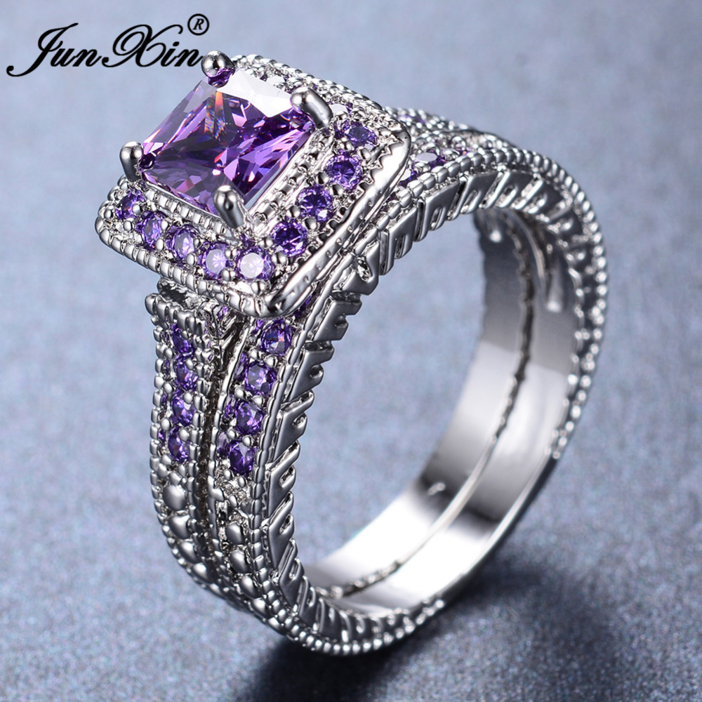 white with filigree asscher rings cut diamond antique wg engagement nl topaz purple side violac scroll ring gold in jewelry stone
