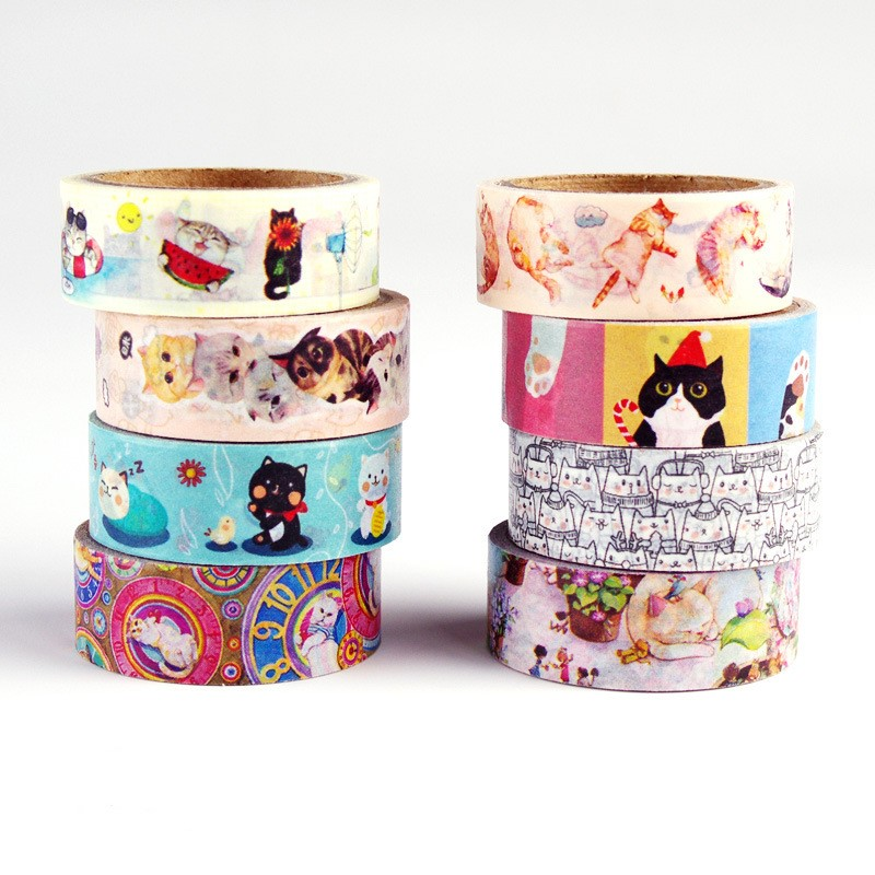 15mm x 5m Cute Cats Animals Decorative Washi Tape DIY Scrapbooking Masking Tape School Office Supply, 8 Different Adhesive Tape