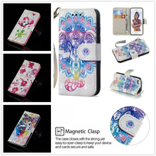 цена на Fashion Painted Animal Petals Cover for IPhone 5 5S SE Bracket Wallet PU Leather Soft TPU 5 5s Se Protective Cover I5 I5s Se Cas