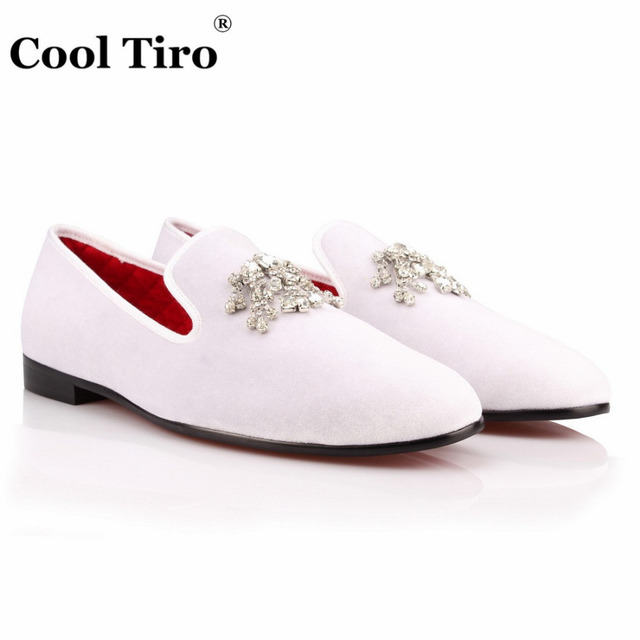 e93dac50d87 COOL TIRO Handmade velvet Loafers Handmade Luxury Diamond Dress men Shoes  Smoking Slipper Wedding Party Slip on Flats