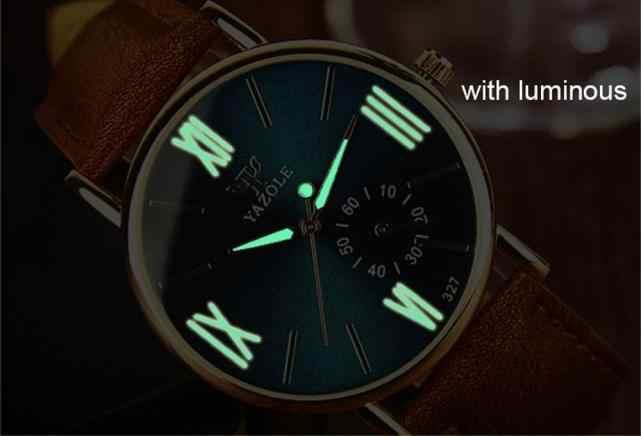 יוקרה אופנה עור Mens זכוכית קוורץ אנלוגי שעוני יד Noctilucent שעונים
