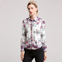 High Quality New Fashion Designer Blouse Women S Turn Down Collar Long Sleeve Floral Print Casual