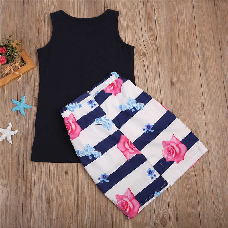 2PCSSet-Family-Match-Clothes-Mother-and-Daughter-Summer-Sleeveless-Vest-TopsFloral-Skirt-Outfits-Matching-Clothing-2