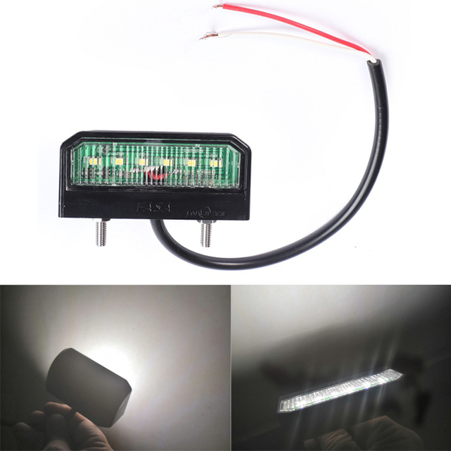 1 pieza LED placa de matrícula impermeable 12 24 V lámpara de placa de número resistente a los golpes para camión remolque motocicleta luces LED