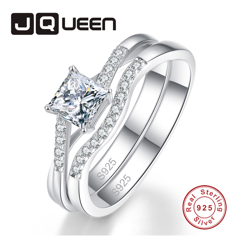 JQUEEN 1 Pair Bridal Set Princess Cut 5*5mm Square Gemstone Twisted Wedding Ring Women's White Crystal Fine Jewelry Daily Rings