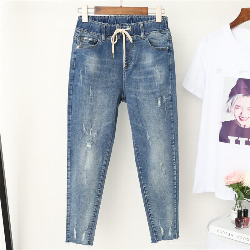 5XL Plus Size Boyfriend Jeans For Women Casual Vintage High Waist Jeans Denim Harem Pants Elastic Waist Denim Jeans Femme Q365