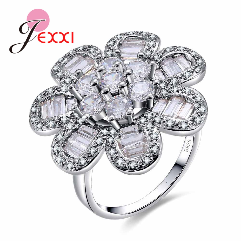 JEXXI Luxury Big White Flower Crystal Ring Simple Type Engrave S925 Stamp Sterling Silver Jewelry for Women Engagement Rings