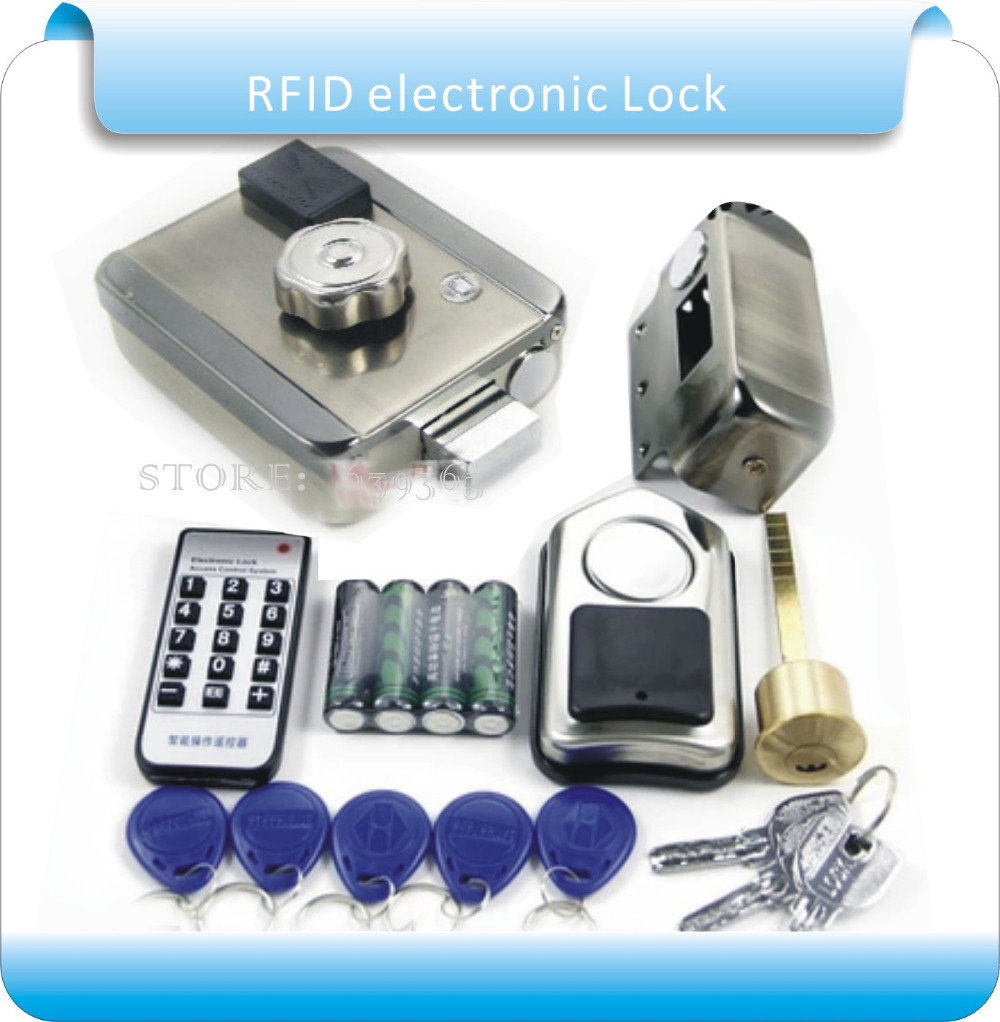 Free shipping DIY Dry battery RFID Exterior Door Locks smart electronic wireless door lock with 1 remote control free shipping dry battery rfid electronic door locks security anti theft lock multiple insurance lock with battery box