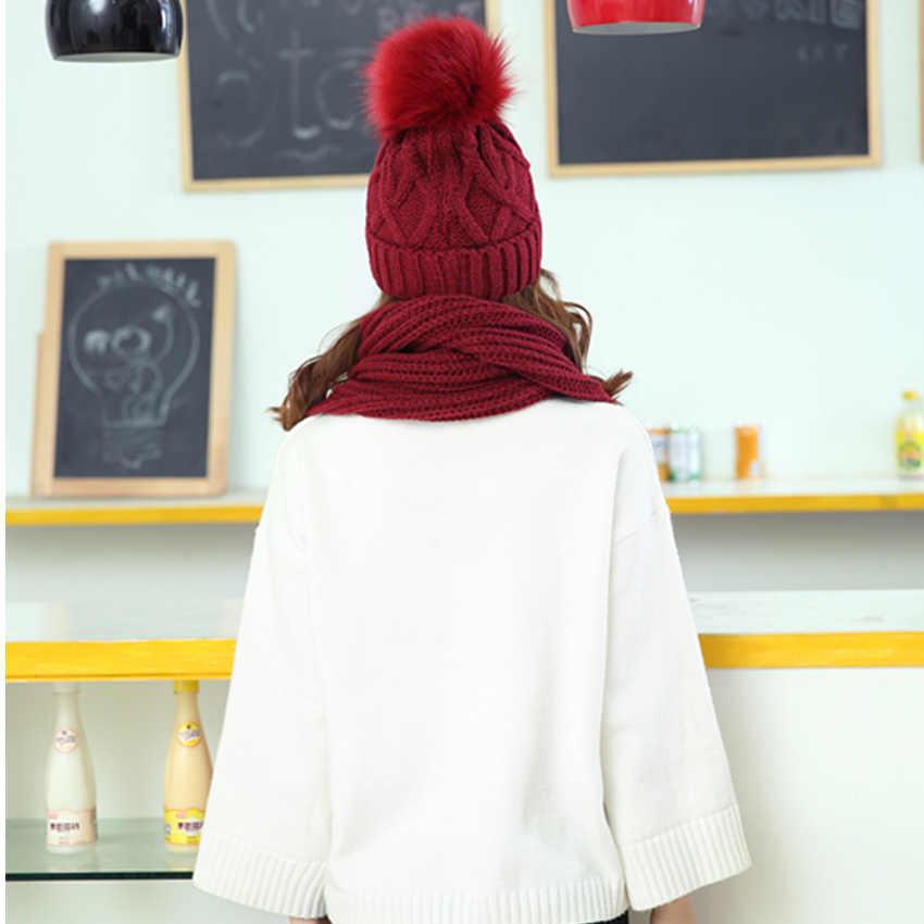 Tsuretobe 2018 冬帽子スカーフファッションニットかぎ針ビーニーキャップ帽子女性のためのウォームスカーフと帽子ツイストニット帽子ビーニー