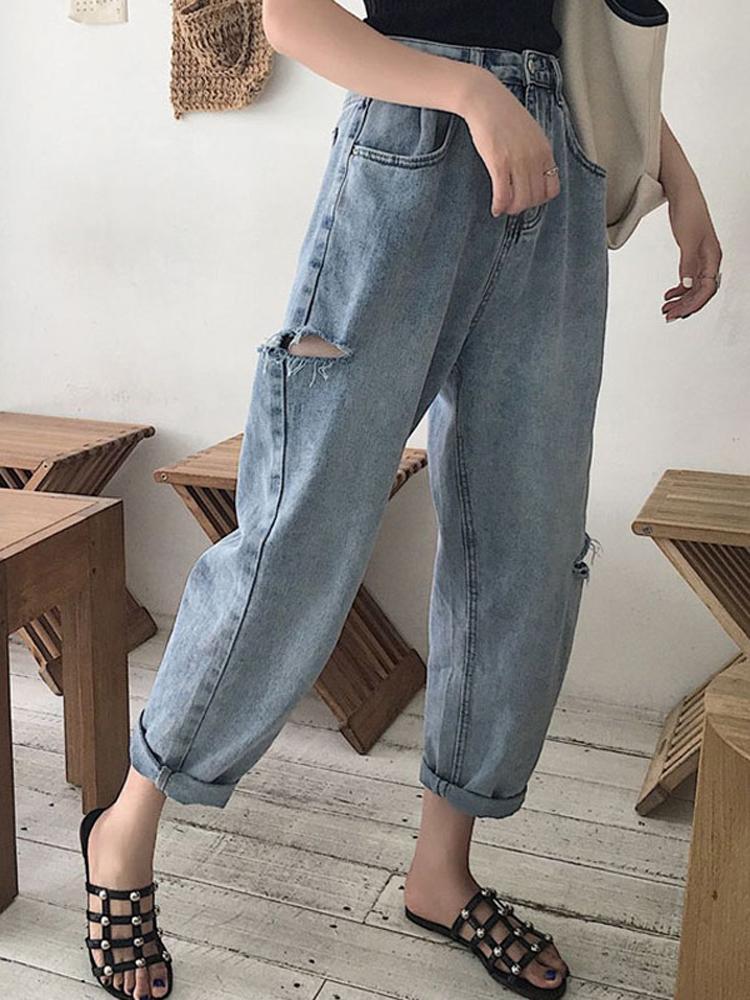 Cheap Wholesale 2018 New Autumn Winter Hot Selling Women's Fashion Casual  Denim Pants L587