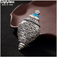 Uglyless Real 999 Fine Silver Handmade Buddha Conch Pendant without Chain Openable Gaudencio Box Jewelry Retro Turquoise Bijoux