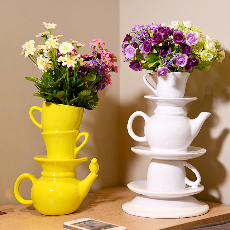 AliExpress & US $59.0 |resin handmade colorful creative special teapot cup in one shape flower pot vase modern home decorations oranements specail vase-in Vases ...
