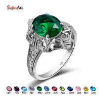Szjinao Fashion May Birthstone Star Emerald Engagement Ring Solid 925 Sterling Silver Rings For Women Vintage