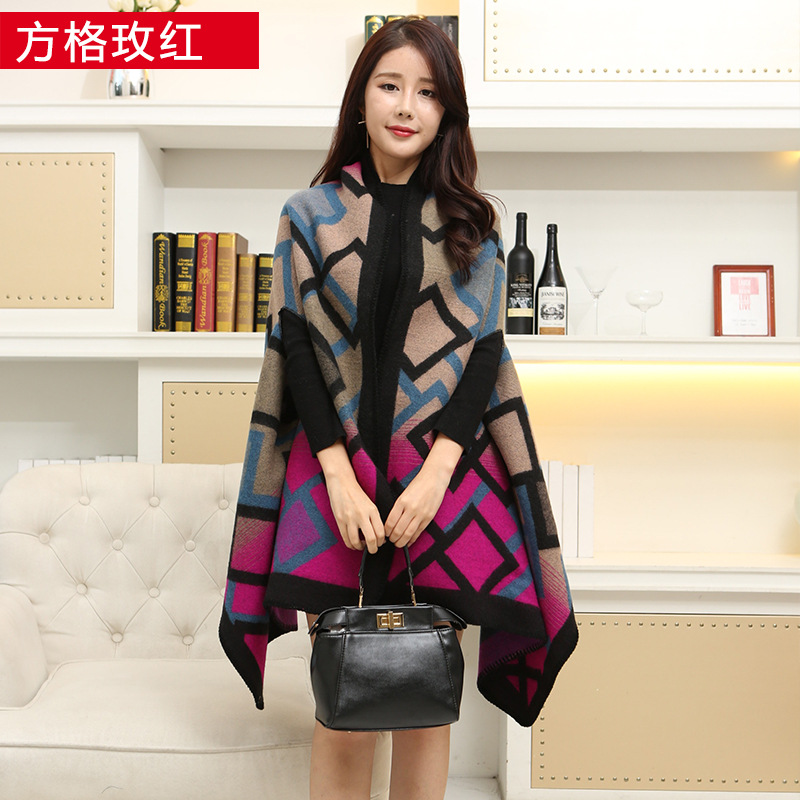 New 2020 Luxury Brand Women Winter   Scarf   Warmer Shawl Ladies Plaid Blanket Knit   Wrap   Cashmere Poncho Capes Female Echarpe