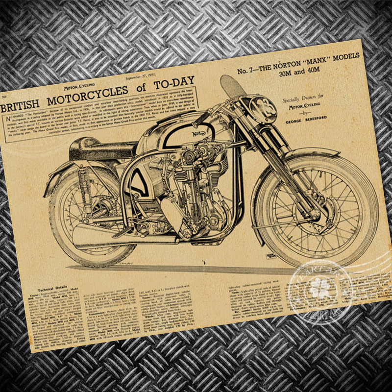 Retro Motorcycle Wallpaper: Free Ship Vintage Poster Retro Old Motorcycle Painting