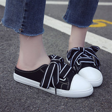 Women's Shoes 2019 New Half Slippers Black Lace-up Round Toe Canvas Shoes Without Heel Korean Shoes White Ladies Pedals Slip-on