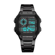 Fashion Men LED Square Dial Steel Linked Strap Waterproof Digital Wrist Watch New