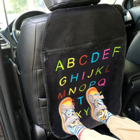 Car Seat Back Cover Automotive Seat Back Protection Organizer Anti Child Kick Pad Interior Accessories Letters