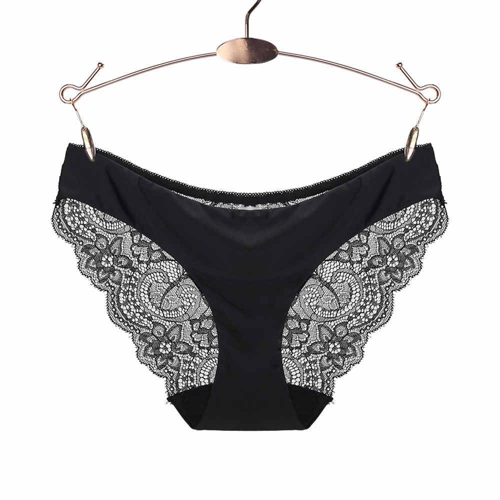 e09106868074 Bragas de algodón Mujer ropa interior sólida mujer Sexy encaje sin costuras  bragas de tiro bajo
