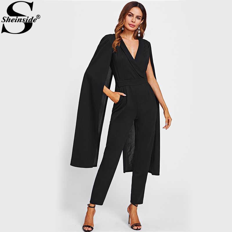 d4836e68bdb Sheinside Cape Sleeve Surplice Wrap Tailored Jumpsuit Black V neck Split  Sleeve Casual Jumpsuit Women Elegant