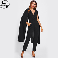 Sheinside Cape Sleeve Surplice Wrap Tailored Jumpsuit Black V neck Split Sleeve Casual Jumpsuit Women Elegant Jumpsuit