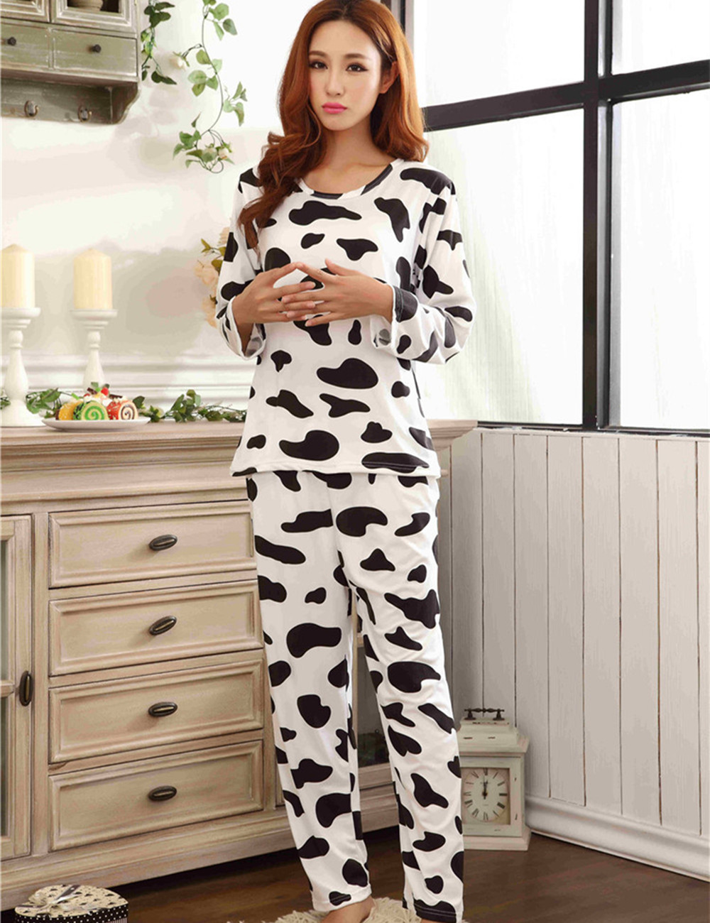 Fashion Women Pijama Pyjamas Full Sleeve Women   Pajamas     Sets   Milk Cow Print Sleepwear Long Pants Women Nightclothes MLXL