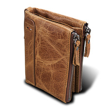 Mad Horse Cowhide Men's Wallet Real Leather Short Money RFID Double Zipper Anti Theft Coin Pocket Business Rfid Fold Small Purse anti theft men biflod short wallet zipper coin case pouch casual pu leather vintage style money purse portefeuille portfel