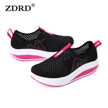 ZDRD New Women Light Mesh Flats Shoes ,Super Cool Casual Shoes Comfortable Breathable Women's Flats Platform Shoes Height