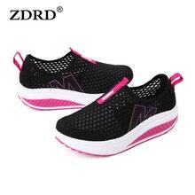 ZDRDใหม่หญิงแสงตาข่ายแฟลตรองเท้า,ซูเปอร์เย็นรองเท้าลำลองสบายระบายอากาศแฟลตสตรีรองเท้าแพลตฟอร์มความสูง