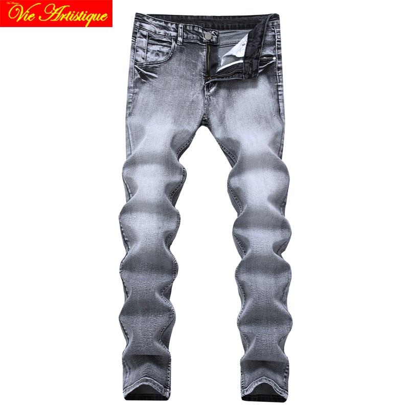 grey design moto jean slim fit homme balmai jeans mannen heren spijkerbroek white black grey skinny elastic cotton 2018 spring