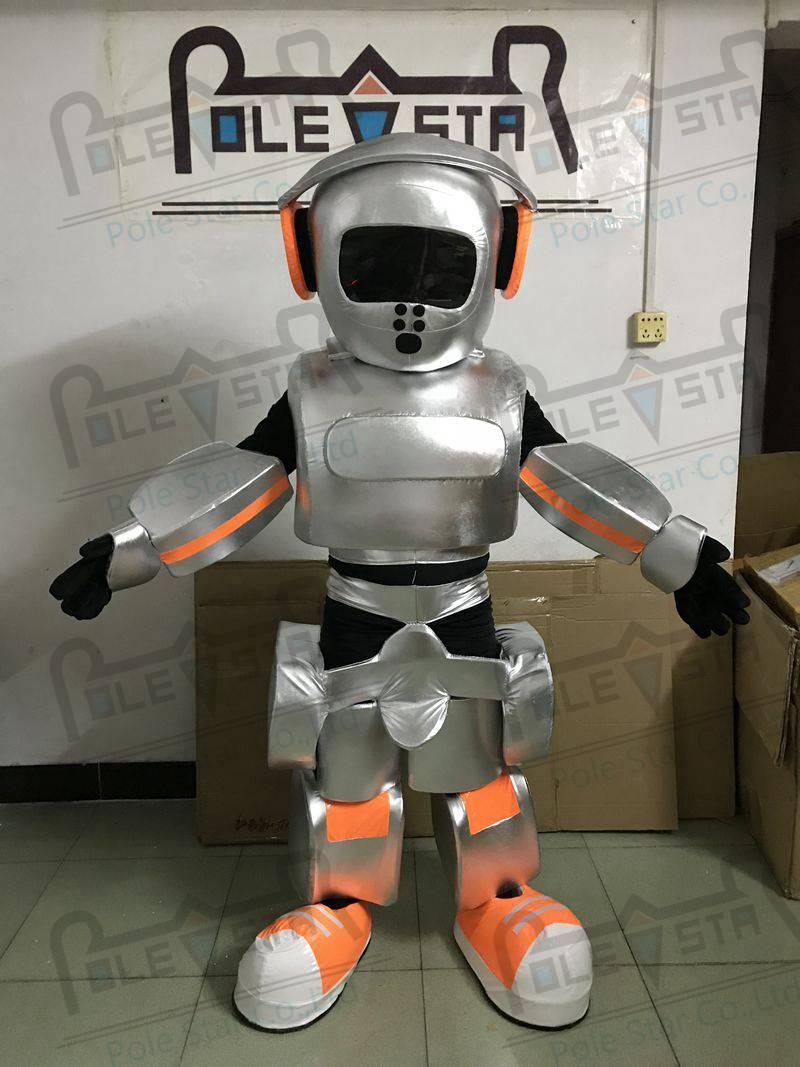 Argent robot mascotte costumes personnalisé LED robot costumes