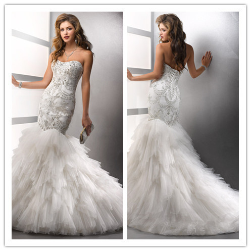 real sample luxury embroidery corset wedding dresses with
