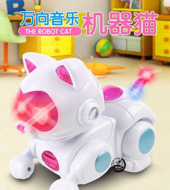 Новое Прибытие Потрясающие универсальный Поворотный Пластиковые Милый Кот Игрушки электронных домашних животных машина кошка световой музыка электрические игрушки