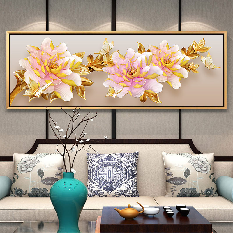 Special Shape Shiny Diamond Mosaic Bead Picture Diamond Painting Peony Flowers Classical Decoration Accessories For Living Room