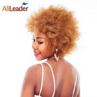 AliLeader Bayanlar Kısa Sentetik Peruk Kanekalon Japon Lif, kabarık Patlayan Saç Stili Ücretsiz Bölüm Kinky Afro Peruk