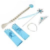 4Pcs Set Princess Elsa Anna Hair Accessories Crown Wig Magic Wand Glove For Kids Party Fast