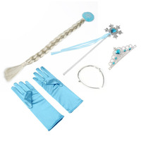 4Pcs Set Princess Elsa Anna Hair Accessories Crown Wig Magic Wand Glove For Kids Party Fast