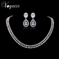 VOGUESS Luksusowe Cyrkon Biżuteria Dla Nowożeńców Ustawia Srebrny Kolor Komunikat Naszyjnik Kolczyki Biżuteria Ślubna Akcesoria