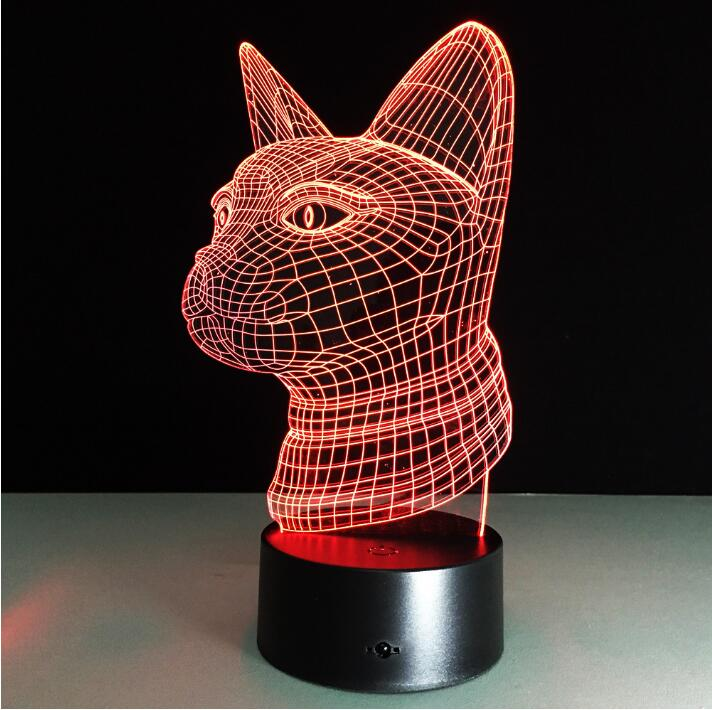 Cat Head DIY 3D Effect Lamp Night Light USB Acrylic LED ...