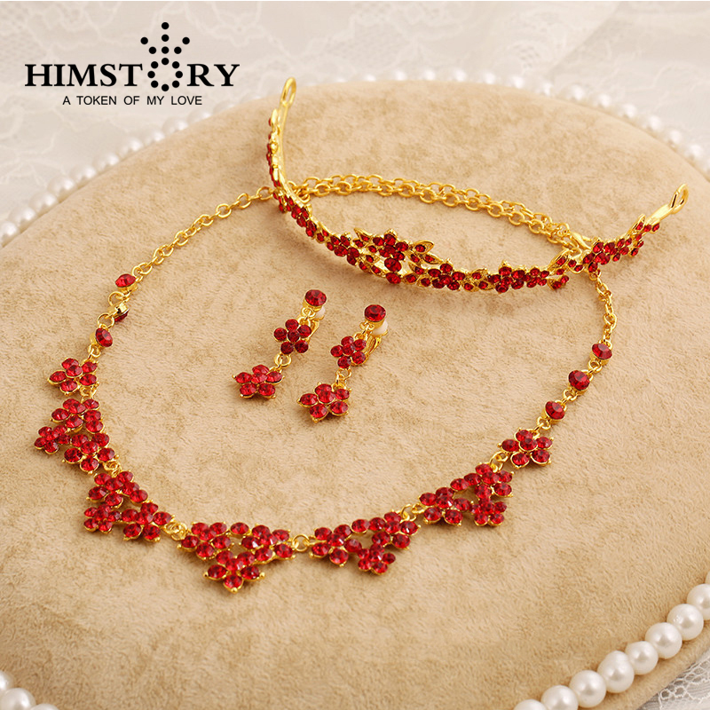 HIMSTORY 3pc Set Elegance Red white Rhinestone Crystal Necklace Earrings Tiara Jewelry Set Bride Wedding Accessories
