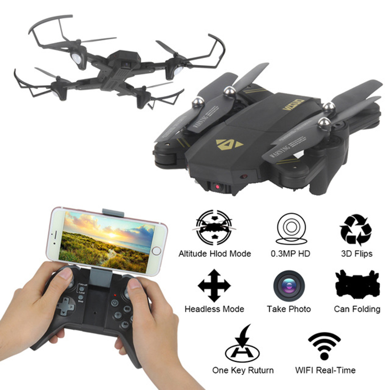 XS809 Foldable Drone RC Selfie Drone with 2.0MP Wifi FPV Camera G-sensor Mode & One Key Return Mode RC Quadcopter Drone