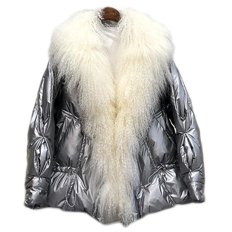 本日の割引 IOW 本物のモンゴルの羊の毛皮の襟冬の女性のジャケット女性暖かいルースホワイトダックダウンジャケット冬のジャケットの女性ダウンパーカー 2019